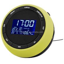 Muilti función ronda de doble Fm Radio reloj despertador Radio reloj con tiempo y la exhibición del precio de fábrica