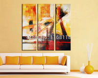 3 piece decor art set Modern City decoration Abstract Meaning Picture hand painted Oil Painting on Canvas for living room