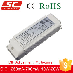 10W-20W DALI DIP adjustment constant current led dimming driver 50v 250-700mA