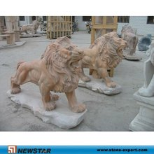Waked Marble Lions Carvings