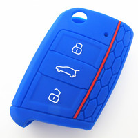 Custom best quality amazing price colorful silicone rubber car key case for VW golf 7 car key