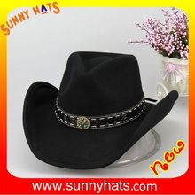Vintage 100% Black Wool Felt American Cowboy Hat Wholesale Made In China Dongguan Factory