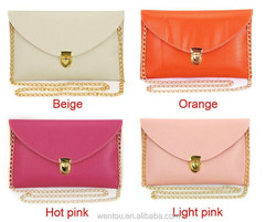 2015 ladies envelope clutch bag leather purse chain clutch bag