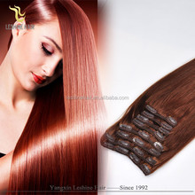 2015 Best selling wholesale!!! no shedding remy full cuticle curl clip hair