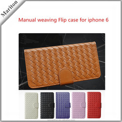Hot Sale Fashion Hand-knitting Leather Wallet Case For Iphone6