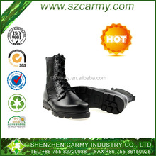 Good quality men cow leather rubber sole black special troops army boots