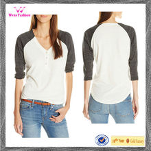 Trendy women three quarter cotton v neck henley tops