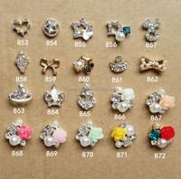 Fashion 3D Nail Art Decoration Accessories Shiny Nail Rhinestones Alloy flowers Bowknot Nail Charms