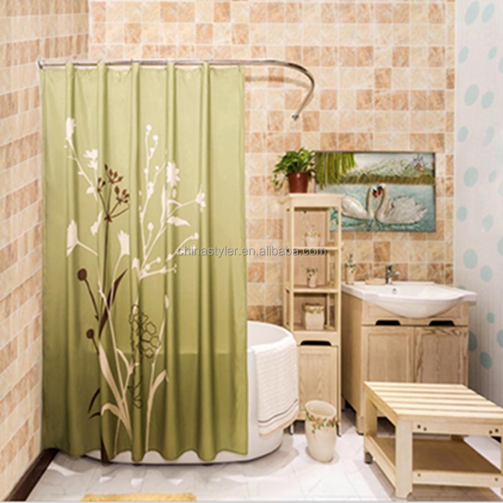 Modernes bad duschvorhang polyester wasserdicht mehltau frei öse stoffvorhang hotel badgestaltung china