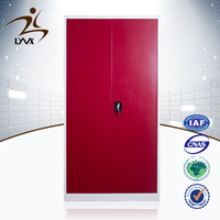 Factory direct selling customized luxury bedroom furniture colorful 2 door wardrobe red color steel clothes almirah