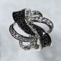 NYR5664 Excellent!!! AAA Grade 42pcs White CZ and 24pcs Black Spinel Paved Abstract Flower Ring Size6#/7#/8#/9#Available