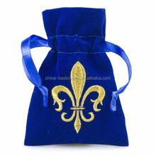Custom Drawstring Royal Blue Velvet Embroidery bags with Gold Embroidery