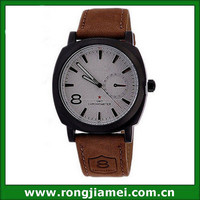 Hot sell men cheap leather western wrist watches with night light