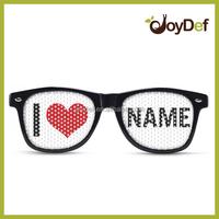 Custom promotional printed lens pinhole sunglasses/sunglasses with logo lens OEM