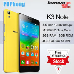 J In Stock! Lenovo K3 Note Dual 4G LTE Phone MTK6592 Octa Core 5.0 inch 1920x1080 2GB RAM 16GB ROM 13.0MP Dual Sim Android 5.0