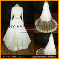 lace beaded belt long sleeve ball gown muslim wedding dress