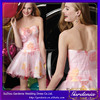 Latest Design A-line Sweetheart Sleeveless Rare Back Flower Appliqued Beading Short Puffy Mini Chiffon Baby Pink Cocktail Dress