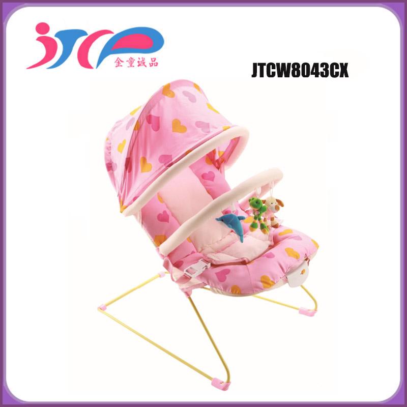 Nouvelle arrivée de haute qualité en plastique bébé à bascule videur avec barre de jouets et couvert