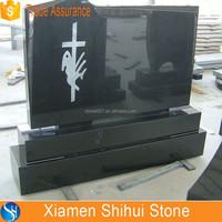 Hotsale Cheap Black Granite Cross Etching Headstone