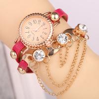 Ebay Hot Elegant Women Ladies Crystal Bracelet Bow Leather Strap Chain Quartz Wrist Watch