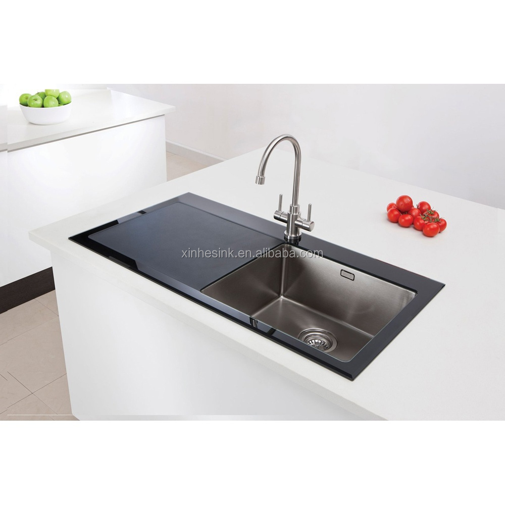 High quality uk tempered glass stainless steel kitchen for High quality kitchen sinks
