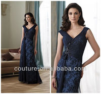 2013 Welcomed deep v-neck dark navy floor length lace beaded ruffle mother of the bride lace dresses md91