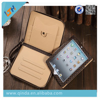 2015 Newest pu+Leather with zipper and string with stand Cover Case For Ipad 360 Degree Rotating pu Case For Ipad