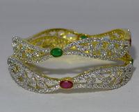 A D designer with semi Precious color stone Bangles