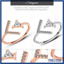Punk styles rose gold rings jewelry European cheapsale fancy copper finger rings zircon ring for men