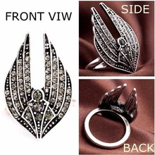 Luxury Design Hot Wholesale Finger Ring Ladies Fashion Crystal Rhinestone Rings Diamond Angel Wings Ring