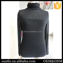 Promotion clothing factories in china Elastic Mesh High Neck fashion blouses 2015