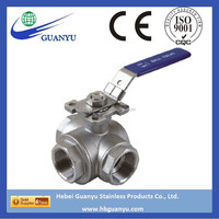 stainless steel 316 ball valve, 3-way T/L type, with mounting flanged ISO5211