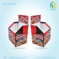 Folding cardboard dump bin display for products sold in supermarket