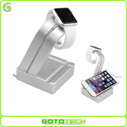 Aluminum dual purpose stand for Iphone and apple watch