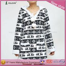 animal blanco con capucha espesar bereber vellón calidez navidad alce bordar las mujeres de moda coreano sudaderas con capucha