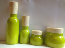 Nature cosmtic packaging bottles and jars, green bottles and jars with bamboo cap.
