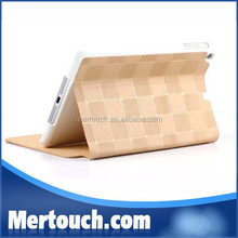 Fashional Gold Leather PU case Foldable Book Grid style Flip Stand cover for iPad mini 1 2 3