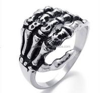 Tribe Gothic Skull Biker Stainless Steel Men's Ring Skeleton Bone Hand Jewelry