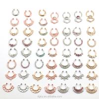 More than 40 designs Zircon Fake Nose Ring Nose Body Jewelry Cheap Fake Septum Rings Piercing