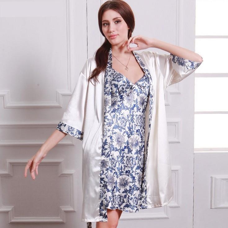 Womens Faux Silk Luxury 2 Piece Sleepwear Sets,Blue And White ...