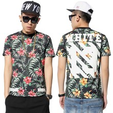 Top fahsion full floral printed men t shirts new romantic directions new feeling clothing