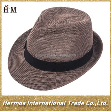 Top quality fashion recycled paper hat flat top hat for men straw fedora hat
