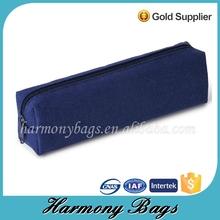 Zipper lock navy plain canvas pencil bag for children