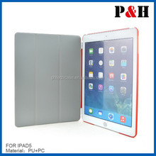 fashion stand high quality leather case for Ipad air with 4colors