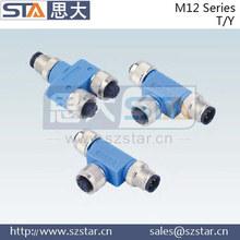 M12 T type /Y type connector,waterproof M12 connector
