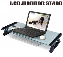 Practical glass plastic desktop computer shelf with USB hub