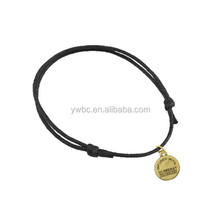 wholesale energy bracelet design diy jewelry zinc alloy copper oval charm black wax cord bracelet (B104911)