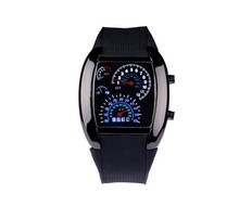 2015 cheap Men Sport Watches LED Display Male Military Waterproof Watches Sports Car Meter Dial Silicone Strap Clock
