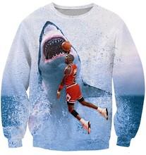 sports pullover custom dye sublimation shark basketball printing sweatshirt