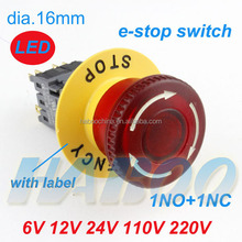 dia.16mm with led & with label or not e-stop switch factory directly emergency stop switch 24v 220v